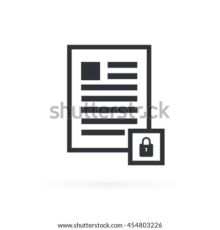 Document Secure Icon - stock vector