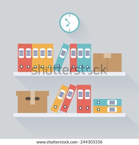 Document Storage Shelves, Flat Vector Illustration - stock vector
