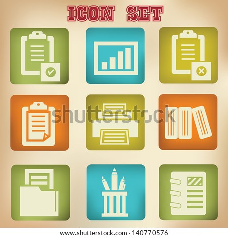 Document vintage icons - stock vector