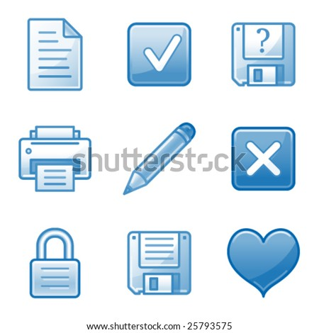 Document web icons, blue alfa series - stock vector