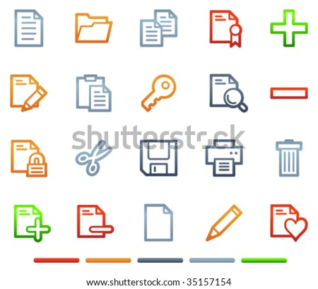 Document web icons, colour symbols series - stock vector