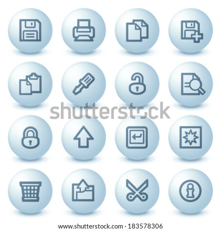 Document web icons on blue buttons. - stock vector