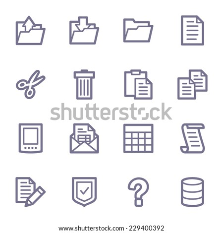 Document web icons set - stock vector
