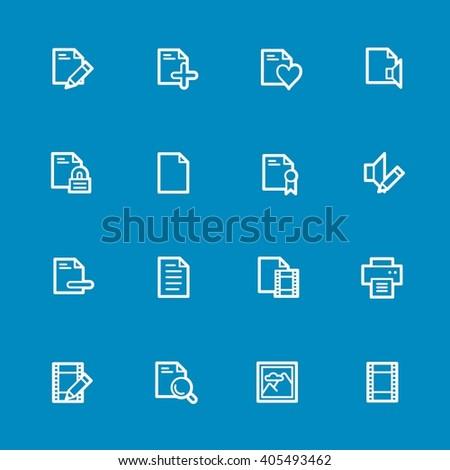 Document web icons set - stock vector