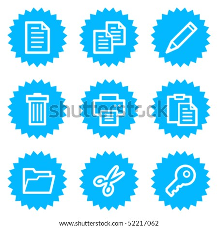 Document web icons set 1, blue sticker series
