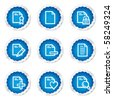 Document web icons set 2, blue stickers series - stock vector