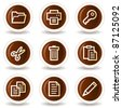 Document web icons set 1, chocolate buttons - stock vector