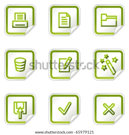 Document web icons set 2, green stickers series - stock vector