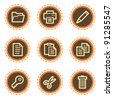 Document web icons set 1, vintage buttons - stock vector