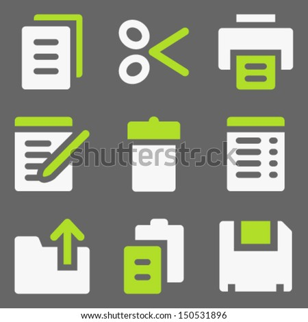 Document web icons, white and green on grey - stock vector
