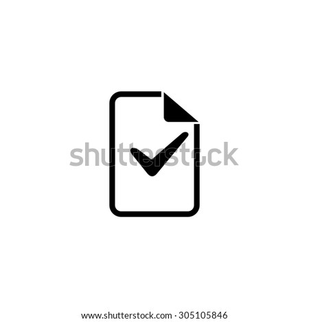 Document with check mark. Black simple vector icon - stock vector