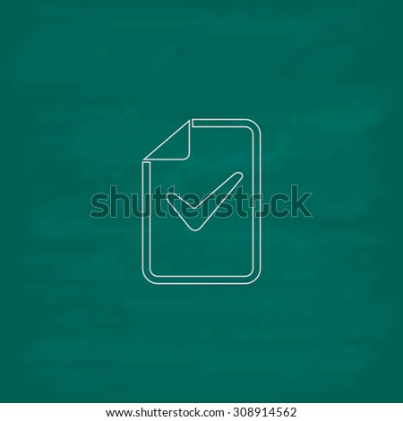 Document with check mark. Outline vector icon. Imitation draw with white chalk on green chalkboard. Flat Pictogram and School board background. Illustration symbol - stock vector