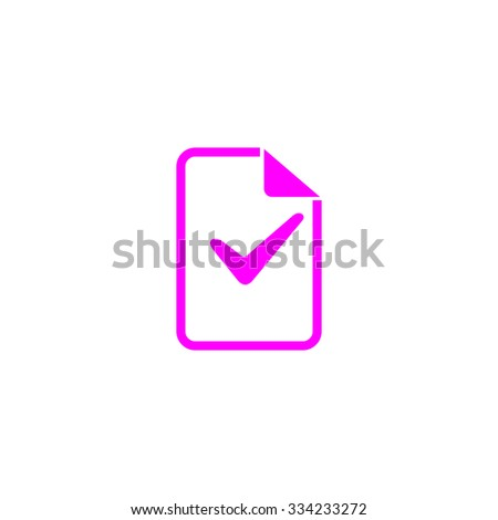 Document with check mark. Pink flat icon. Simple vector illustration pictogram on white background - stock vector