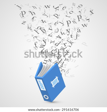 Document with flying letters. Vector Illustration - stock vector