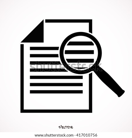 Document With Magnifying Glass Icon - stock vector