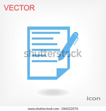 document with pen - vector icon - stock vector