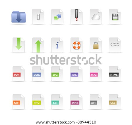 Documents and Folder Icon Set - stock vector