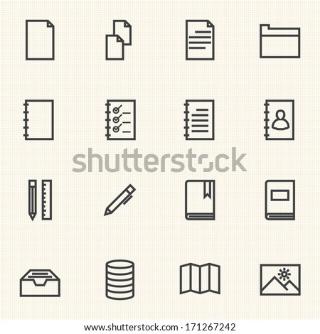 Documents icon sets. Line icons.