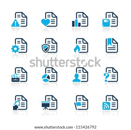 Documents Icons - 2 // Azure Series - stock vector