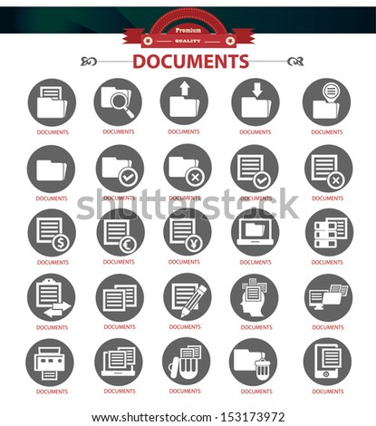 Documents icons,Black version,vector - stock vector