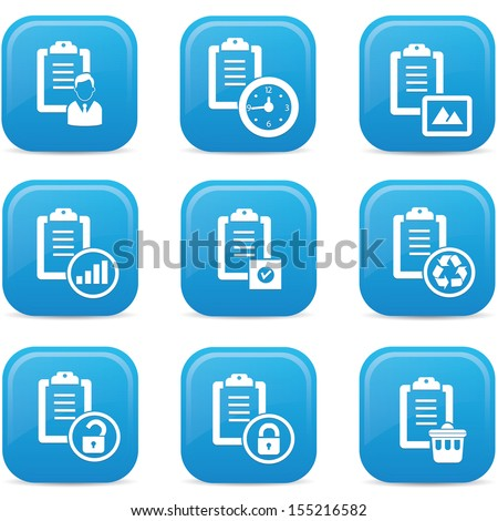 Documents icons,Blue buttons,vector - stock vector