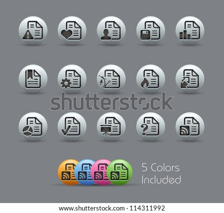 Documents Icons - 2 of 2 // Pearly Series -------It includes 5 color versions for each icon in different layers --------- - stock vector