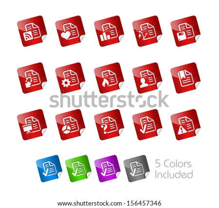 Documents Icons - 2 of 2 // Stickers Series ---- It includes 5 color versions for each icon in different layers ----- - stock vector