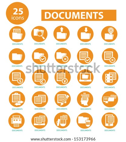 Documents icons,Yellow version,vector - stock vector