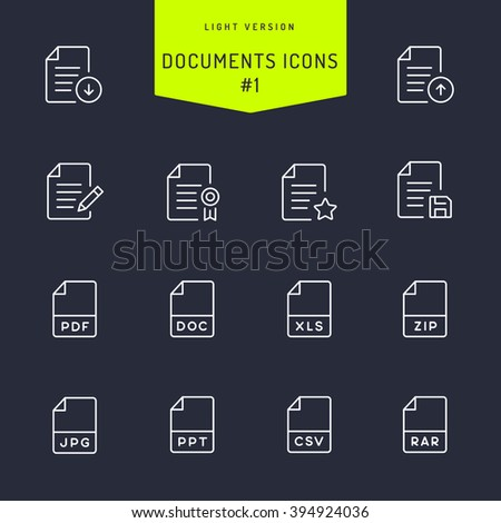 Documents Light Line Icons  - stock vector