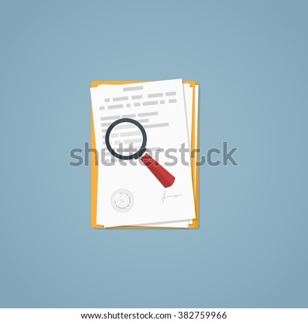 Documents, magnifying glass, business papers. Signed agreement. Investigation research. - stock vector