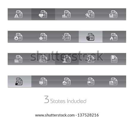 Documents - 2 of 2 // Gelbar Series +++ It includes 3 buttons states in different layers. +++ - stock vector