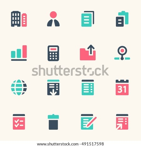 Documents Web Icons Set Office Crm Stock Vector 491517598 Shutterstock