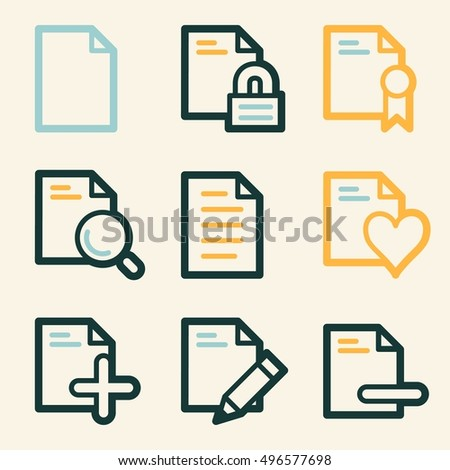 Documents Web Icons Set Office Crm Stock Vector 2018 496577698