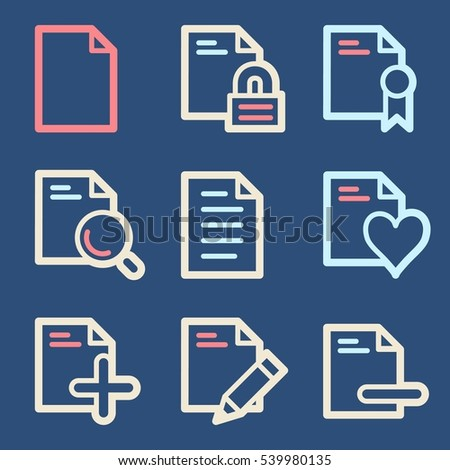Documents Web Icons Set Office Crm Stock Vector 539980135 Shutterstock