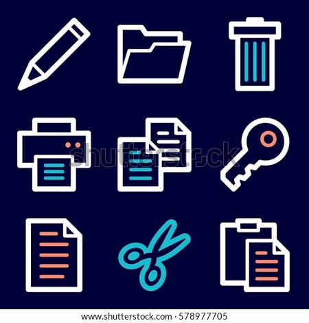 Documents Web Icons Set Office Crm Stock Vector 578977705 Shutterstock