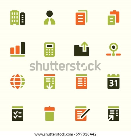 Documents Web Icons Set Office Crm Stock Vector 599818442 Shutterstock