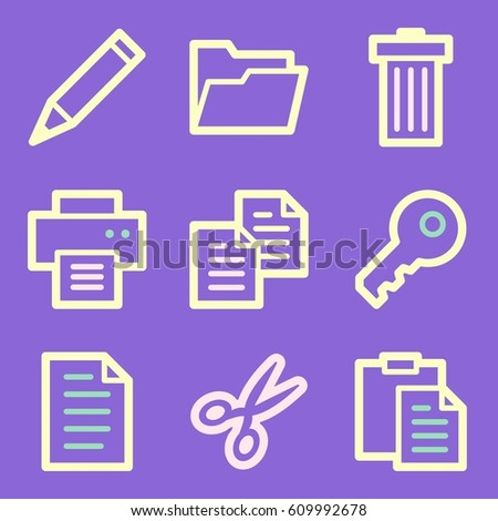 Documents Web Icons Set Office Crm Stock Vector 609992678 Shutterstock