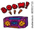 Doddle boombox - stock vector