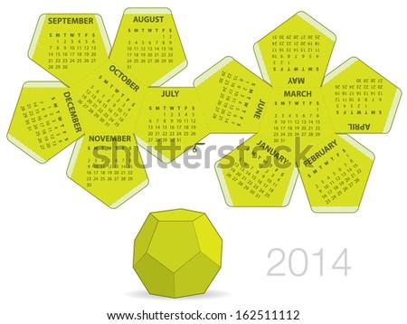 Dodecahedron 2014 calendar - stock vector