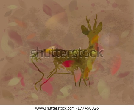Doe in autumn leaves / Silhouette of wild animal    - stock vector