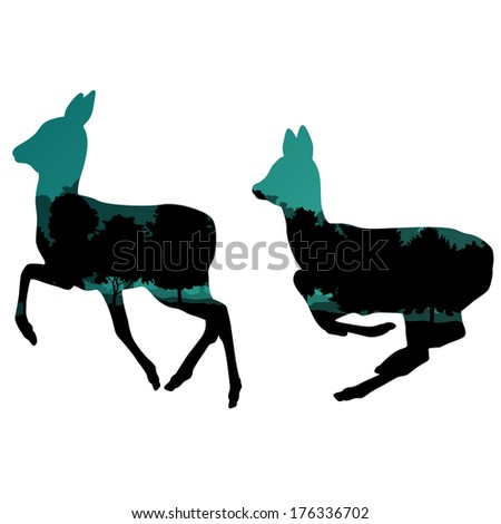 Doe venison deer animal silhouettes in wild nature forest landscape abstract background illustration vector - stock vector