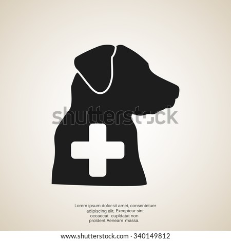 dog and a cross mark the veterinary clinic web icon vector des