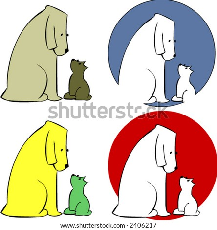 Dog and Cat - stock vector
