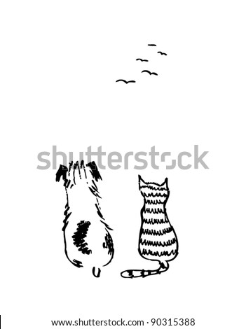 dog-and-cat2 - stock vector