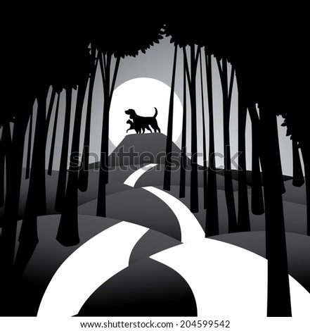 Dog and cat against the moon. EPS 10 vector, grouped for easy editing. No open shapes or paths. - stock vector