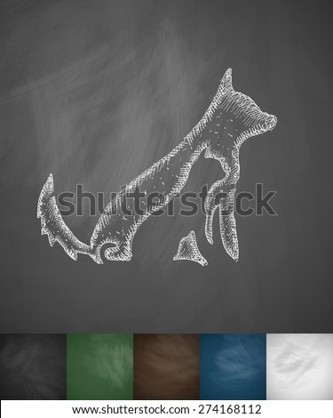 dog and cat icon. Hand drawn vector illustration. Chalkboard Design - stock vector