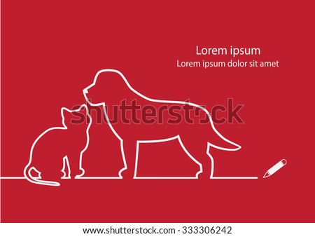 Dog and cat line design vector.  - stock vector