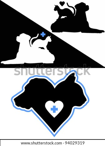 Dog and Cat Silhouette Design Elements - stock vector