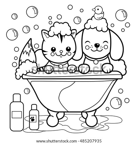 Dog Cat Taking Bath Coloring Book Stock Vector HD (Royalty Free ...