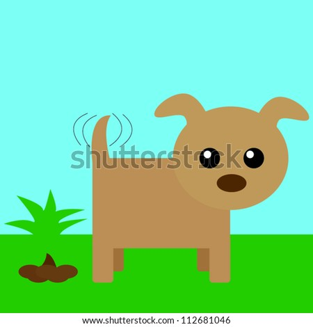 Dog and his poo - stock vector